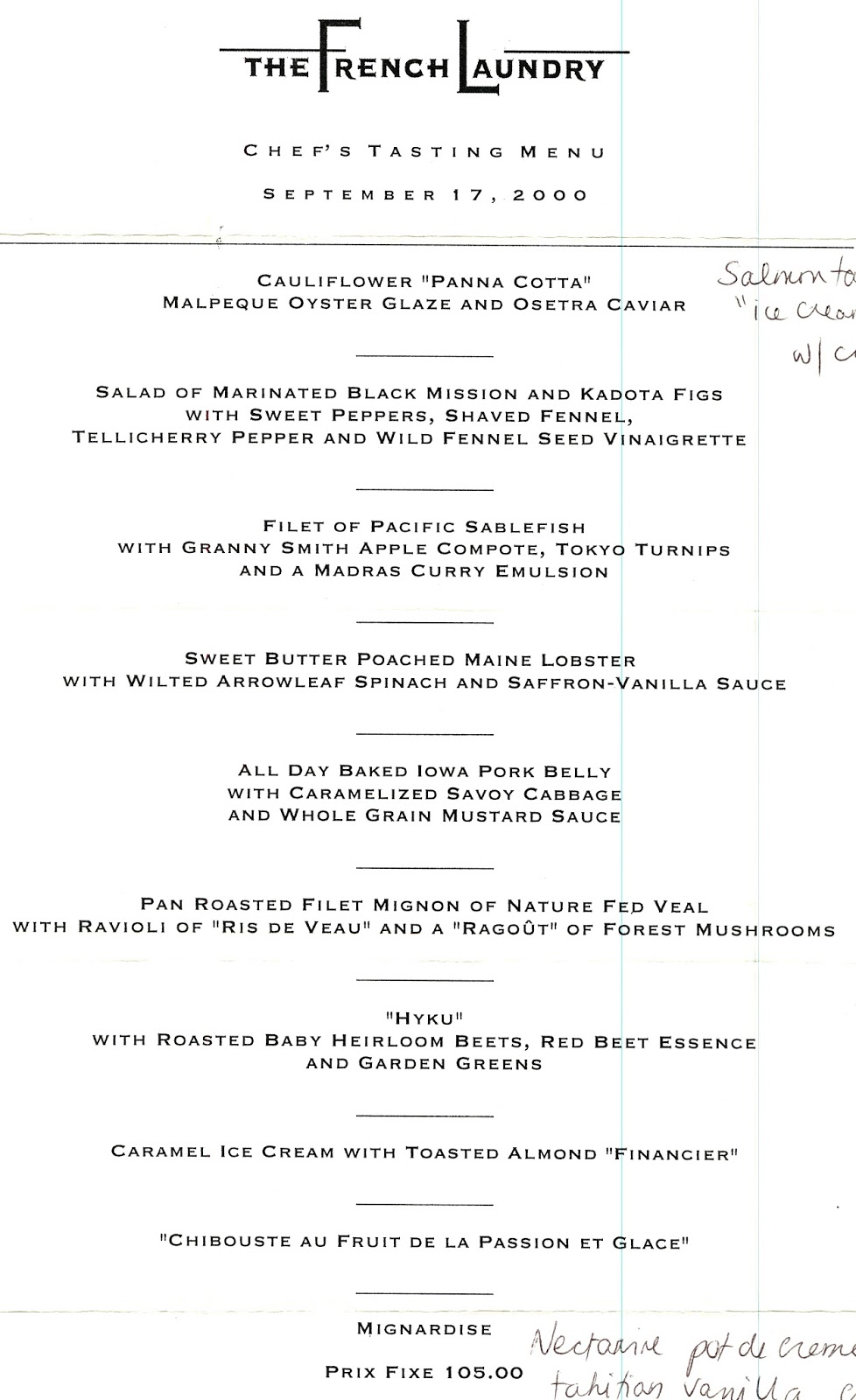 Image result for French Laundry menu