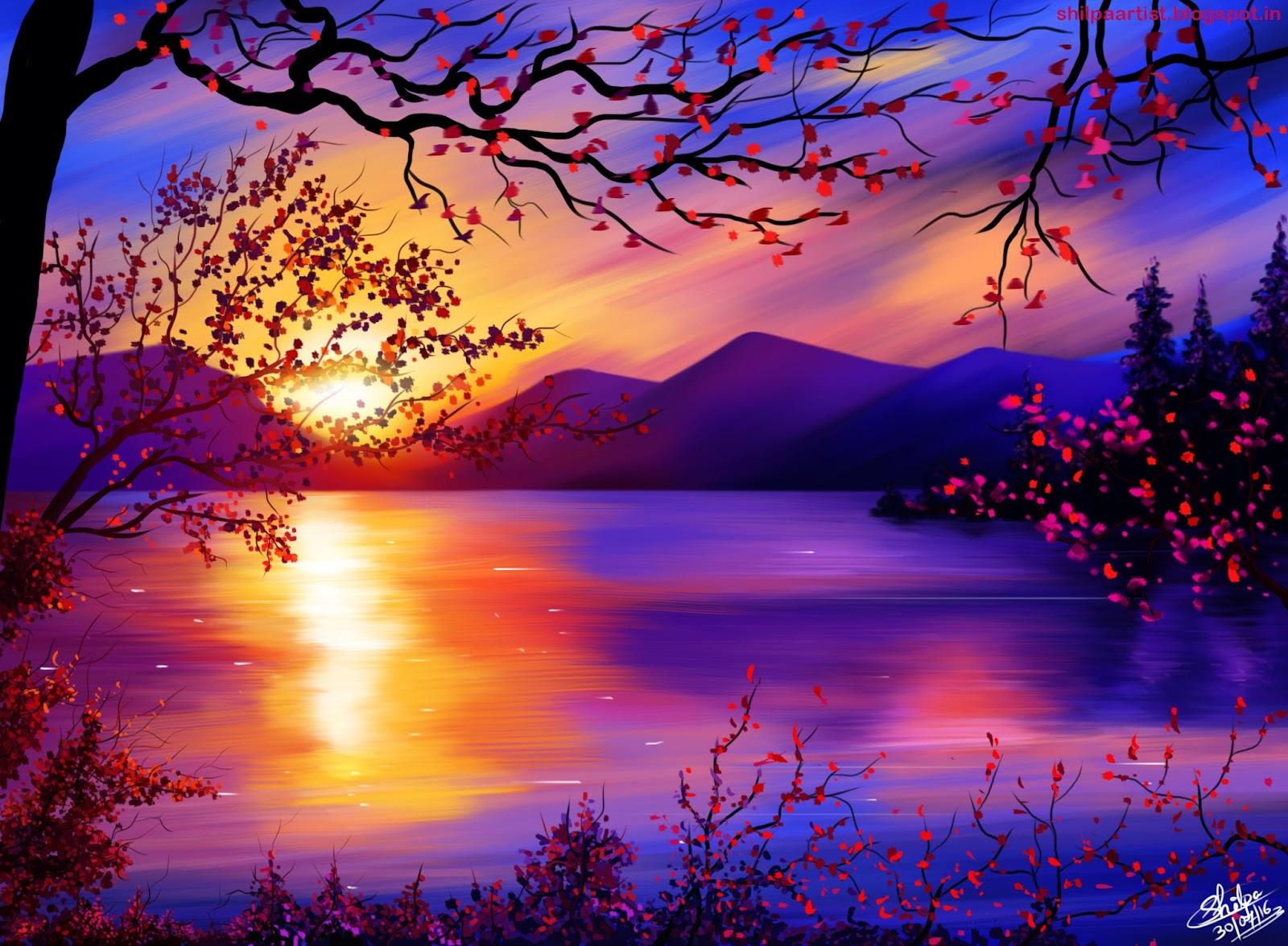 nature painting digital sunset shilpa pink