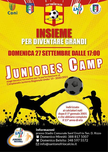 Sant'Onofrio: nuova sfida. Le juniores Regionali.