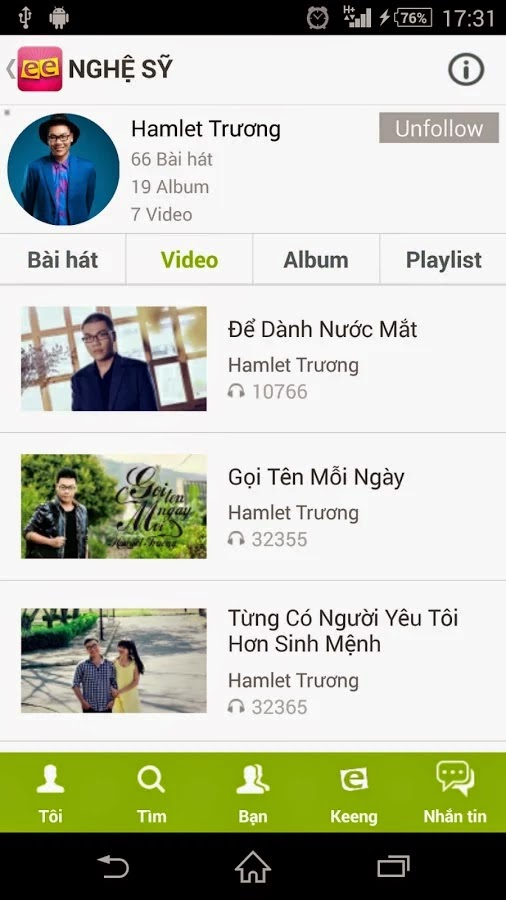 Nghe nhạc miễn phí Keeng 3G Viettel