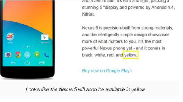 Google Segera Rilis Nexus 5 Warna Kuning
