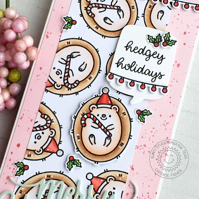 Sunny Studio Stamps: Hedgey Holidays Hogs & Kisses Scenic Route Christmas Garland Frame Dies Holiday Card by Candice Fisher