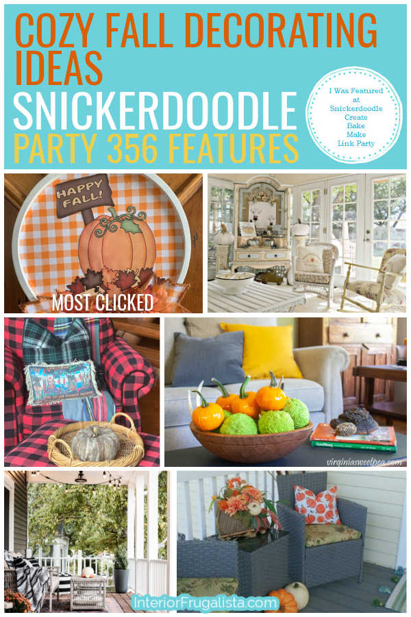 Cozy Fall Decorating Ideas - Snickerdoodle Create Bake Make Link Party 356 Features co-hosted by Interior Frugalista #linkparty #linkpartyfeatures #snickerdoodleparty