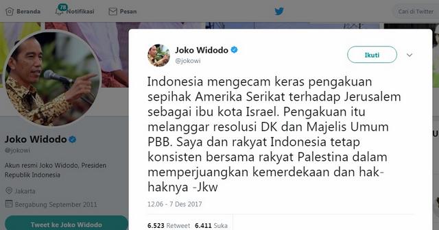 Presiden Jokowi Mengecam Keras Pengakuan Sepihak AS terhadap Jerusalem Sebagai Ibu Kota Israel