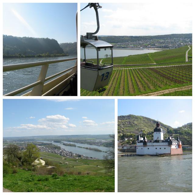oben links: Loreleyfelsen, oben rechts: Seilbahn in Rüdesheim, unten rechts: Kaub