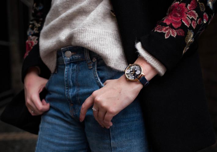 olivia burton watch, embroidered coat