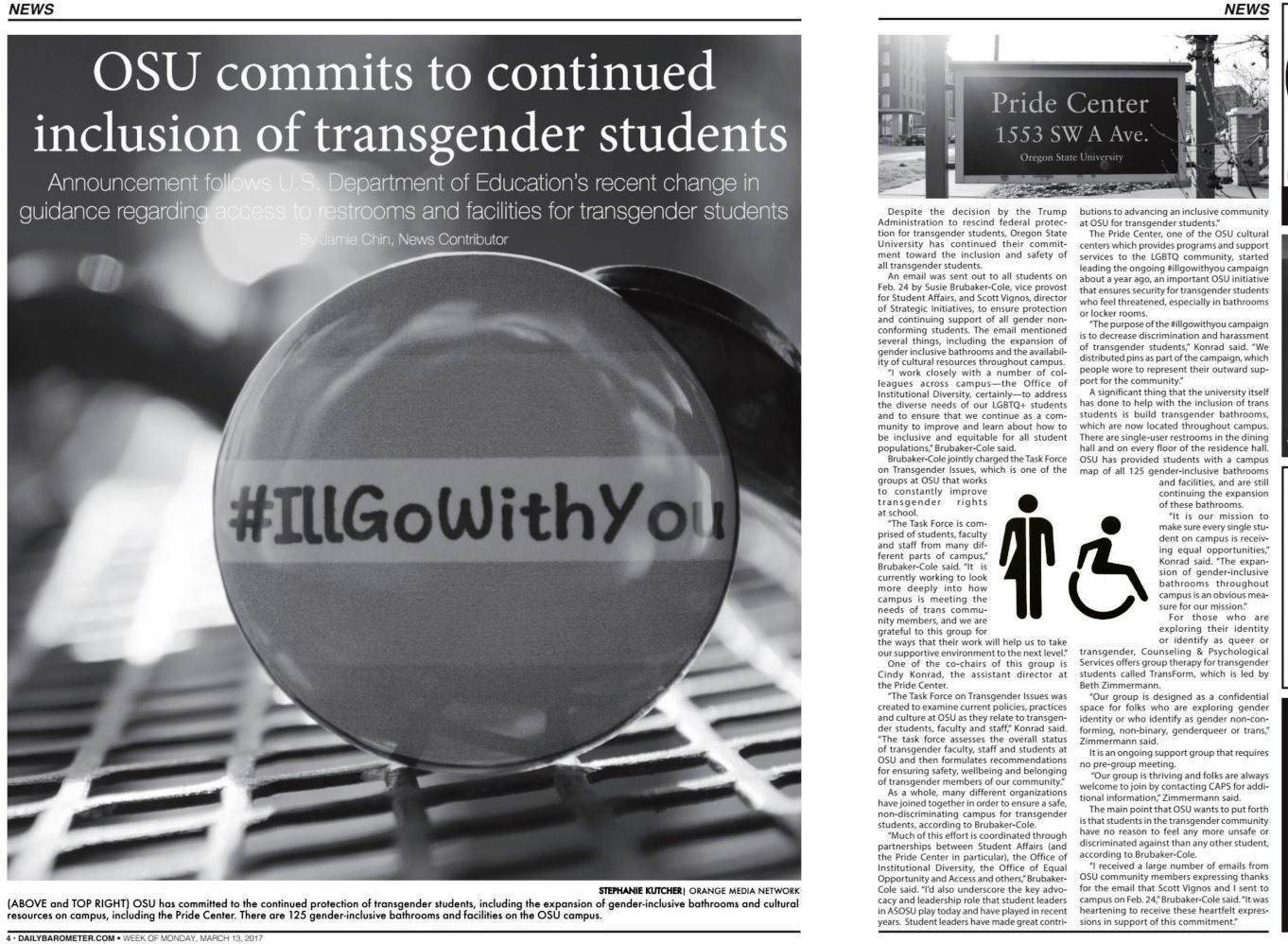 OSU transgender bathroom story in Barometer Mar. 13, 2017, p. 4-5