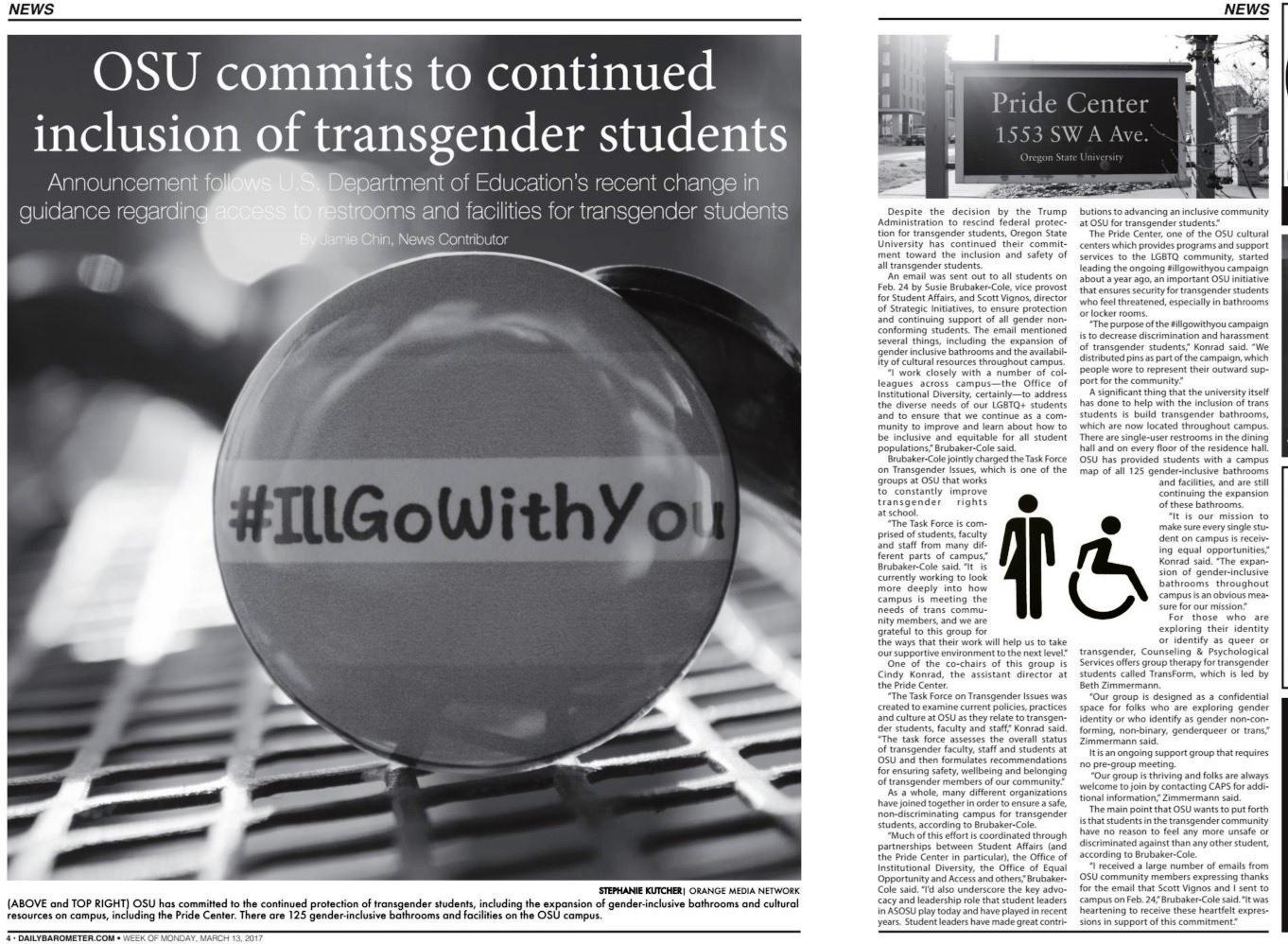 OSU transgender bathroom story in Barometer Mar. 13, 2017, p. 4-5