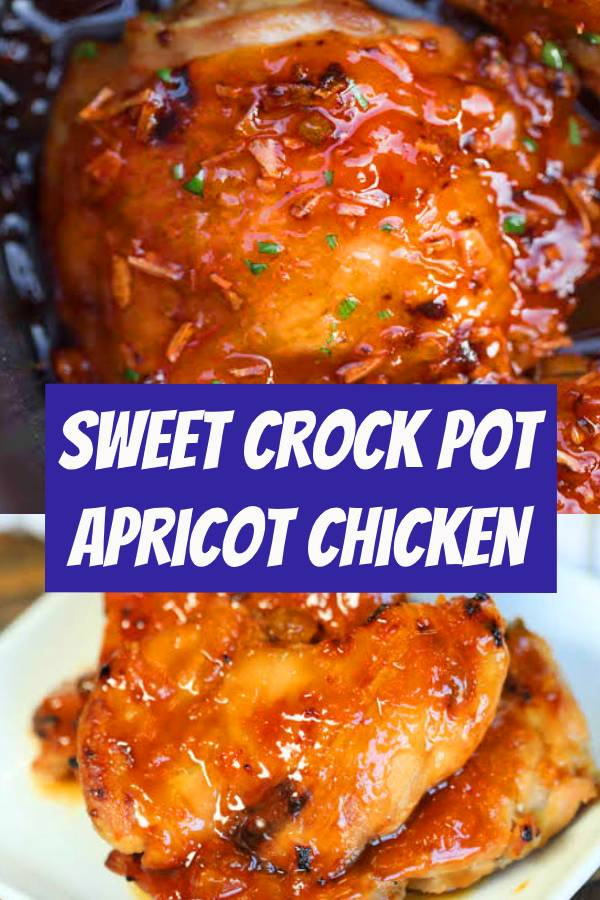 Crock Pot Apricot Chicken Recipe is sweet and savory. Apricot preserves combine with soy sauce and ginger for chicken you can't resist. Try this easy meal. #crockpot #chicken #apricot #easymeal