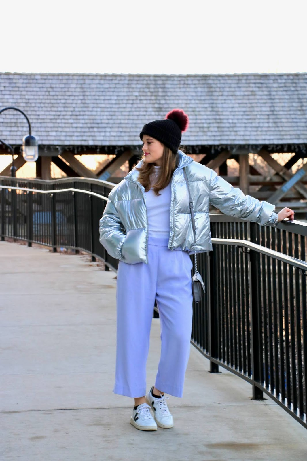 Nyc fashion blogger Kathleen Harper wearing a white turtleneck outfit.