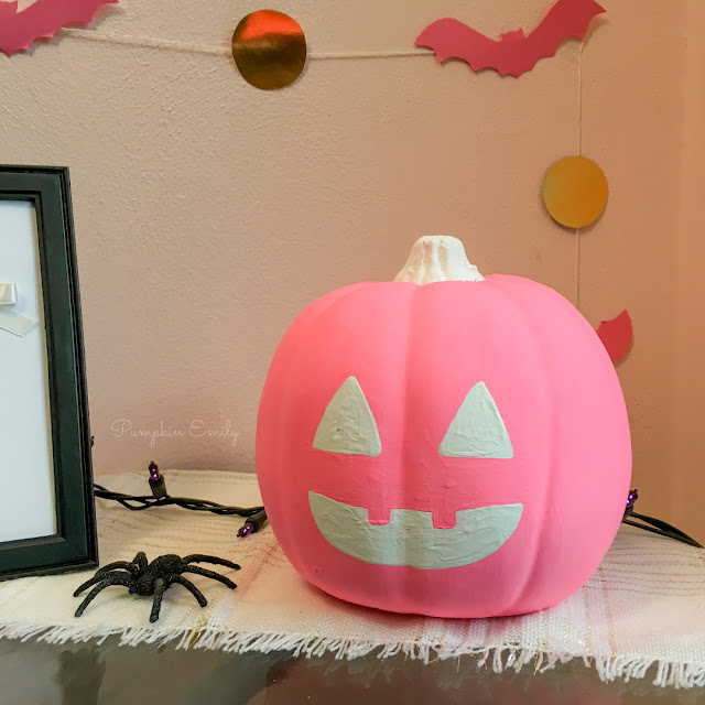 Pink DIY No Carve Jack O Lantern Pumpkin