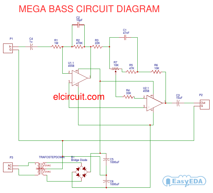 mega bass circuit using 4558 electronic circuit rh elcircuit com IC 4558 Pin Layout JRC4558 Data Sheet