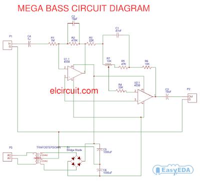 mega bass circuit using 4558 - electronic circuit, Circuit diagram
