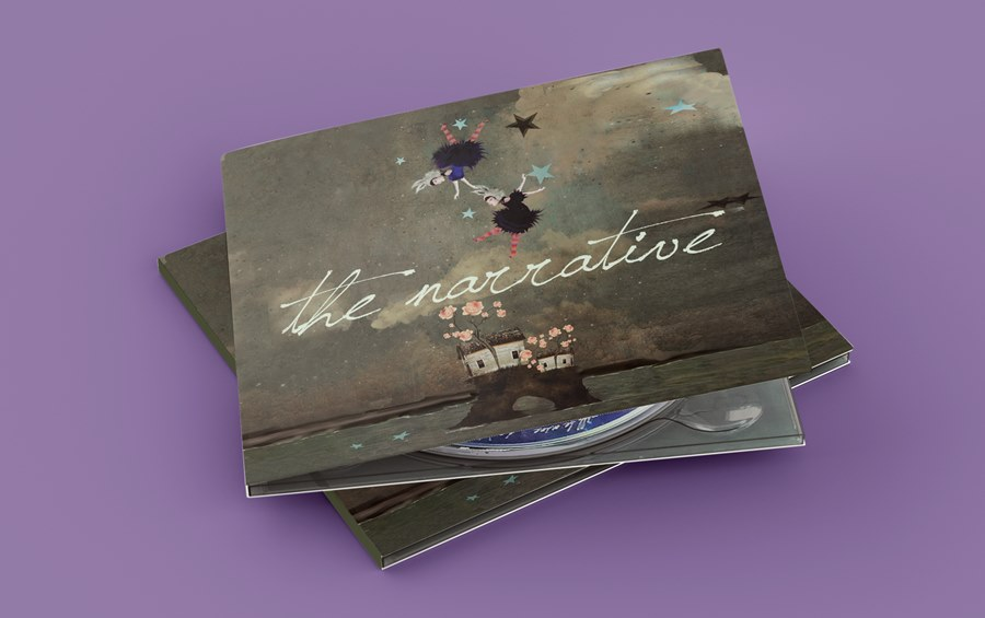 In front a purple background two dark green digipacks with cover and CD that says 'the narrative'