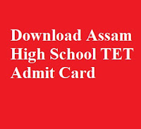 Download Assam High School TET Admit Card 2019 [Link Activated ]