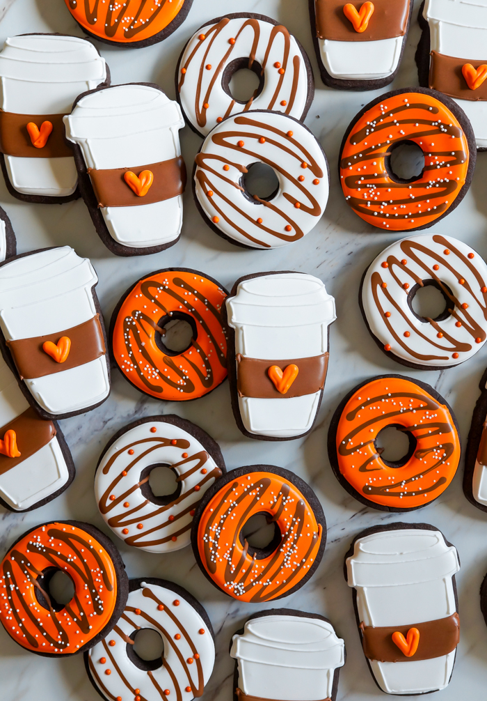 how to make latte and donut decorated cookies for fall