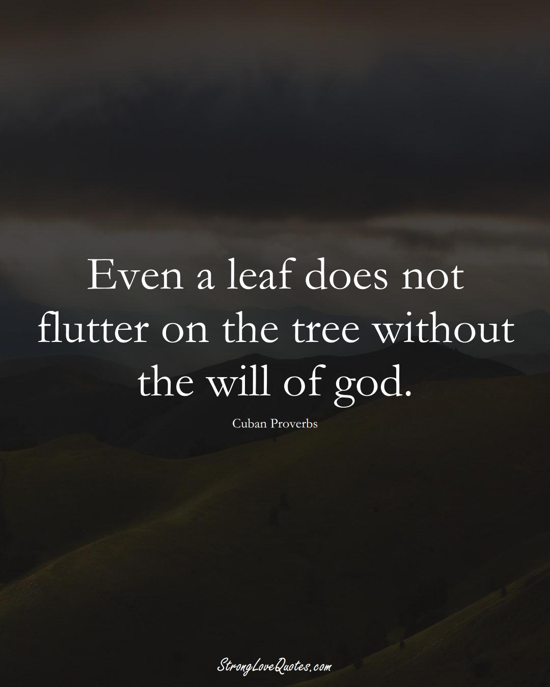 Even a leaf does not flutter on the tree without the will of god. (Cuban Sayings);  #CaribbeanSayings