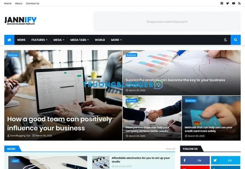Jannify Premium Blogger Template Free Download