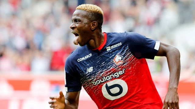 Super Eagles forward victor Osimhen celebrates his first French Ligue 1 goal in his debut for Lille