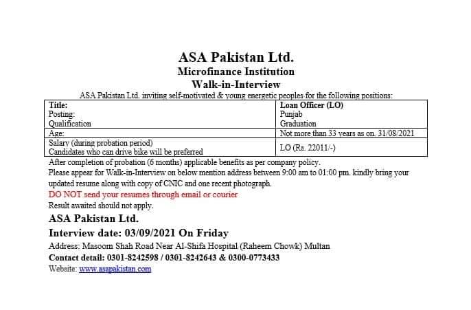 ASA Pakistan Ltd. Micro finance Institution Walk-in-Interview for Loan Officer (LO) in Sindh and Punjab in punjab