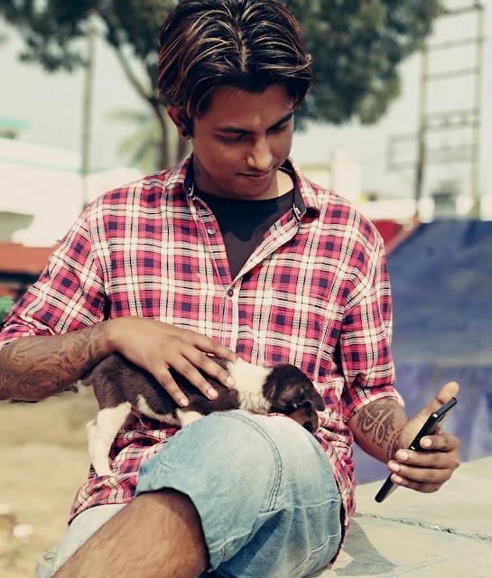 Sourajit Saha With A Puppy