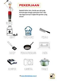 Download lembar kerja Tema Pekerjaan: Peralatan yang Digunakan oleh Koki