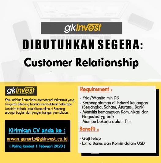 Lowongan kerja GK Invest Bandung Januari 2020