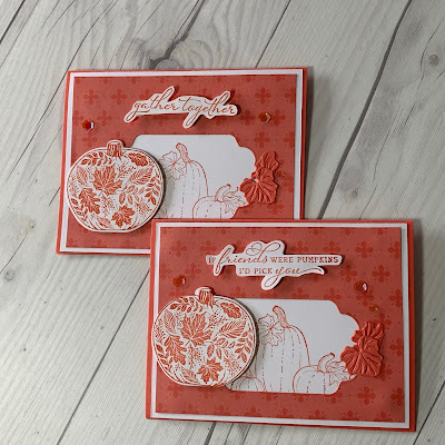Two Fall-Themed greeting cards featuring pumpkins from the Stampin 'Up! Pretty Pumpkins Stamp Set