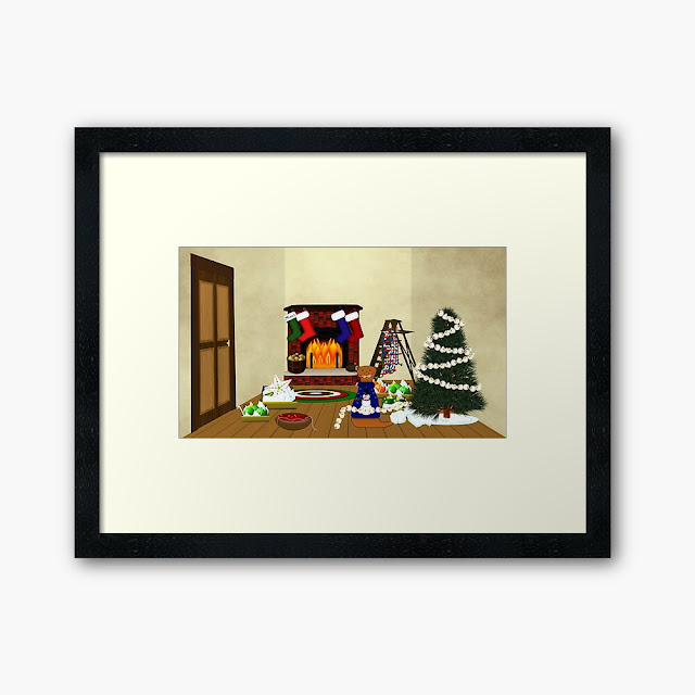Oliver Decorates for Christmas Framed Art Print