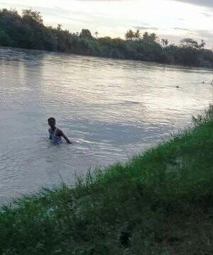 Warga melakukan pencarian teehadap korban yang hanyut di sungai.