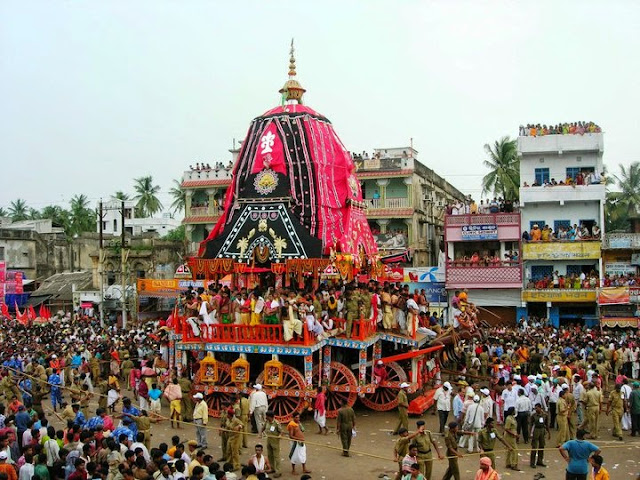The chariot of Subhadra being pulled along the Grand Road by the devotees at the Rathayatra Festival, Puri