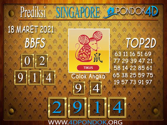 Prediksi Togel SINGAPORE PONDOK4D 18 MARET 2021