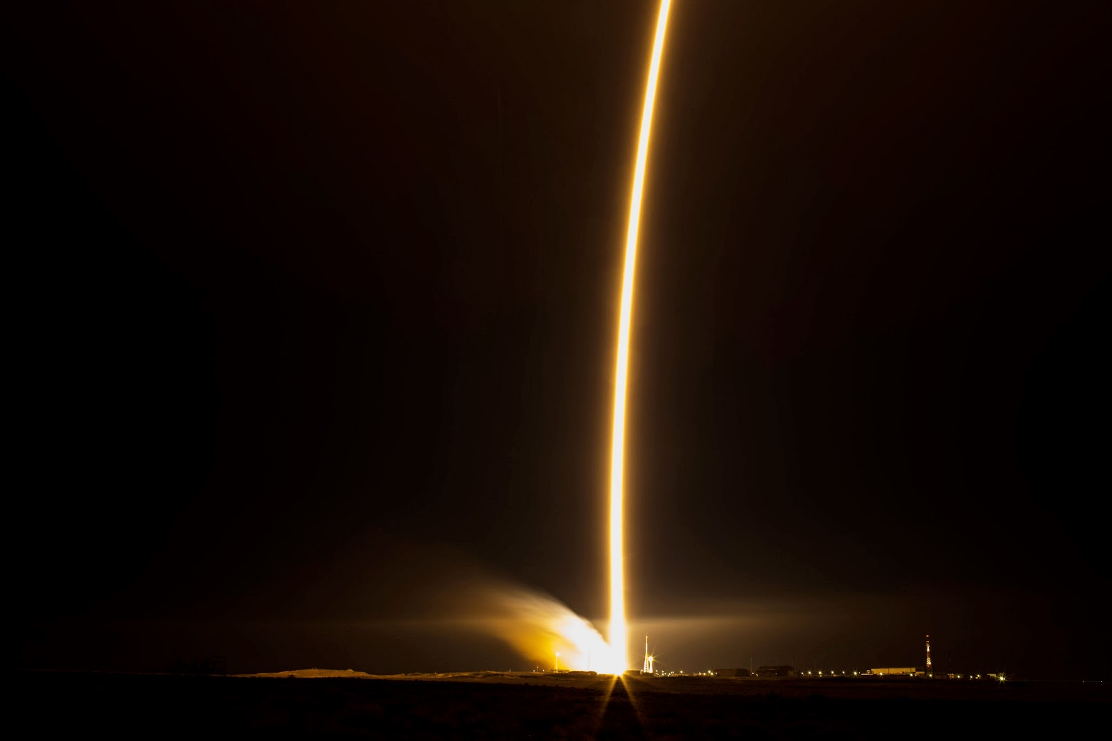 The Soyuz TMA-15M rocket launches from the Baikonur Cosmodrome in Kazakhstan on Monday, Nov. 24, 2014 as seen in this long exposure carrying Expedition 42 Soyuz Commander Anton Shkaplerov of the Russian Federal Space Agency (Roscosmos), Flight Engineer Terry Virts of NASA, and Flight Engineer Samantha Cristoforetti of the European Space Agency (ESA) into orbit to begin their five and a half month mission on the International Space Station. (Photo Credit: NASA/Aubrey Gemignani)
