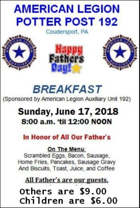 6-17 Fathers Day Breakfast, Coudy Legion