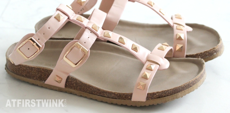 C&A pink sandals with rose gold studs sale