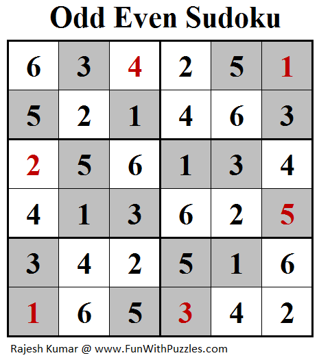 Odd Even Sudoku (Mini Sudoku Series #101) Solution