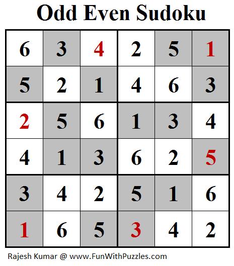 Odd Even Sudoku (Mini Sudoku Series #101) Solution