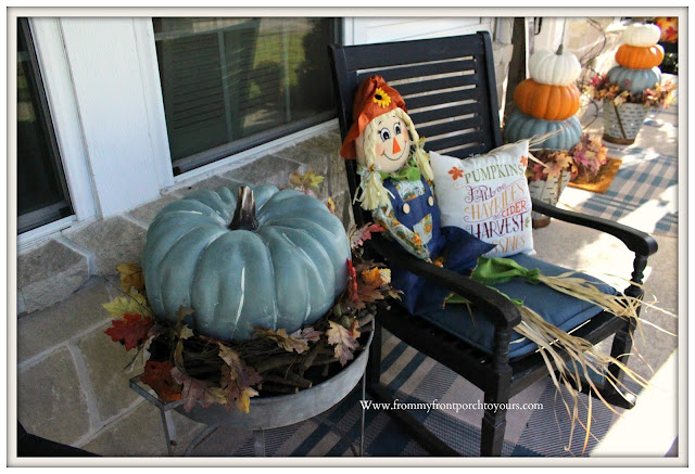 Fall- Porch-pumpkin-chalk-paint-scarecrow-rocking-chair-From My Front Porch To Yours