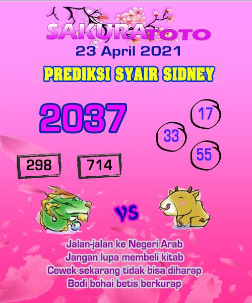 Syair Sakuratoto Sidney Jumat 23 April 2021