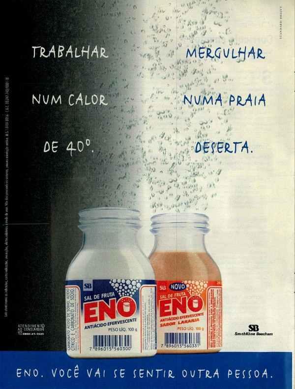 Anúncio do Sal de Fruta Eno veiculado em 1999 apresentando seus dois sabores