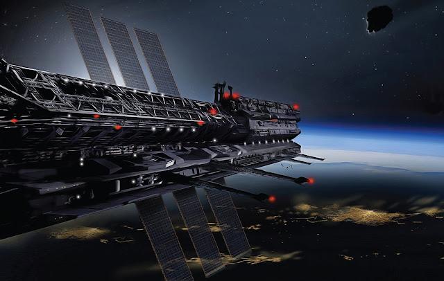 nave espacial representando a Asgardiacon la Tierra de fondo
