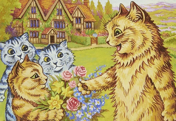 ルイス・ウェイン「庭にいる猫の家族」