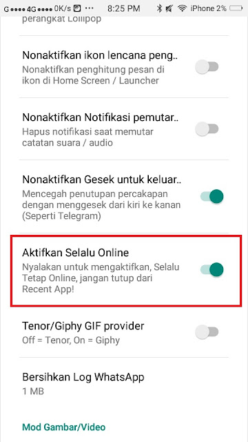 Cara menghidupkan online di Yo whatsapp
