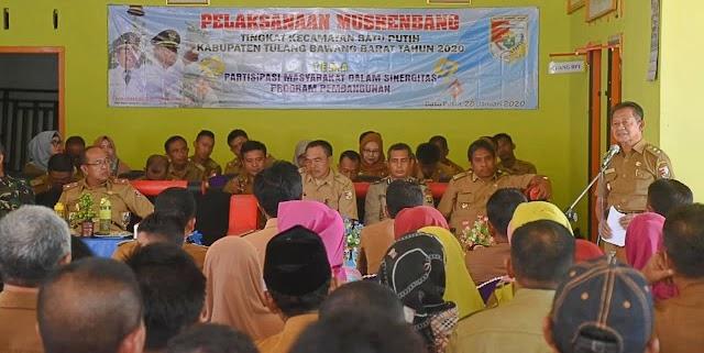 Wakil Bupati Tulang Bawang Barat Fauzi Hasan Menghadiri Musrenbang Kecamatan Batu Putih