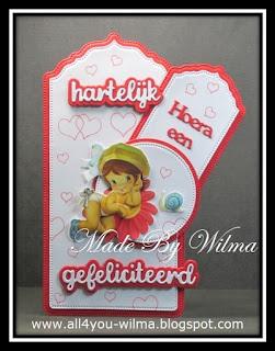 """""""Hartelijk gefeliciteerd"""" op een groot label/tag en """"Hoera een baby"""" op een kleiner label/tag. """"Congrats"""" (Dutch words) on a large label/tag and """"Hurray a baby"""" (Dutch words) on a smaller label/tag."""