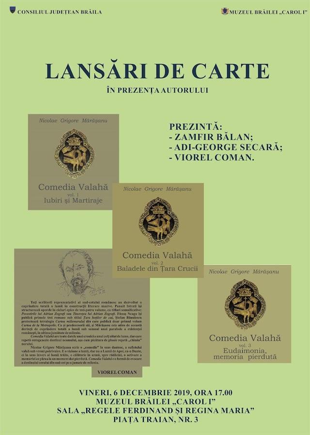 """LANSĂRI DE CARTE LA MUZEULUI BRĂILEI """"CAROL I"""", Nicolae Grigore Marasanu"""