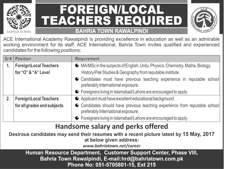 jobs in bahria town rawalpindi phase 8