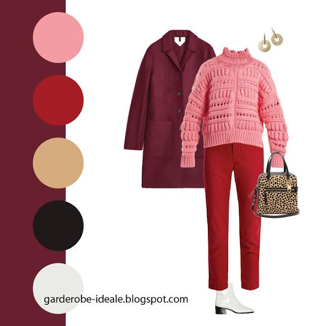 Монохромное сочетание оттенков красного в одежде