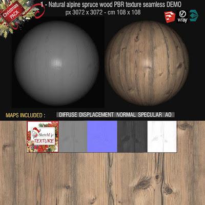 wood grain, natural alpine spruce PBR texture seamless 3K