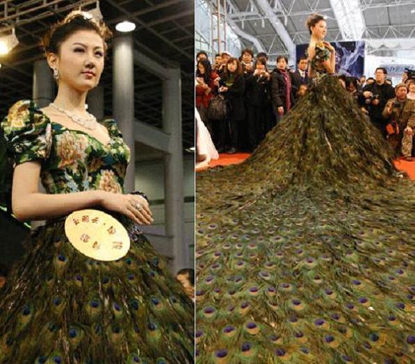 Pea Feather Green Modern Wedding Dresses